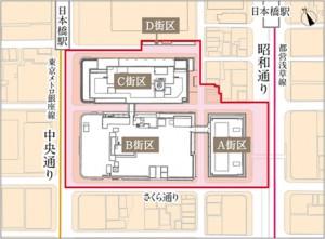 日本橋高島屋周辺再開発地図