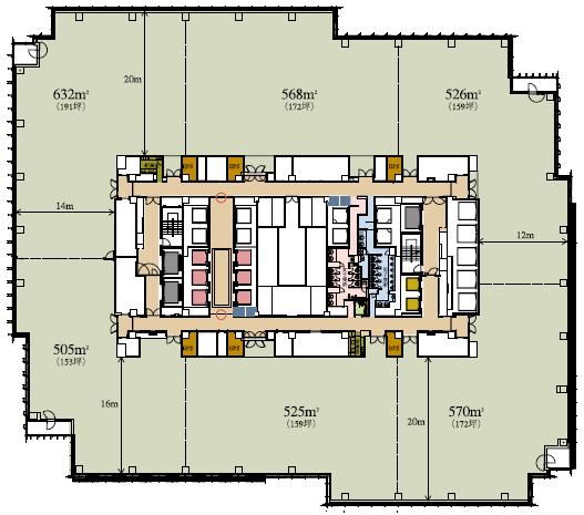 ミッドタウンタワー基準階平面図