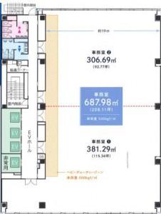 日本酒造虎ノ門ビル基準階面積平面図
