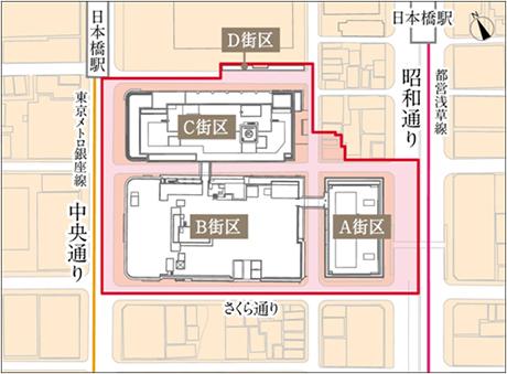 日本橋2丁目再開発街区地図